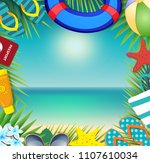 top view of summer holidays... | Shutterstock .eps vector #1107610034