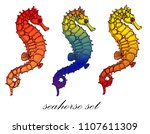 seahorse  set on white... | Shutterstock .eps vector #1107611309