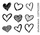 set of six handdrawn heart.... | Shutterstock .eps vector #1107612200