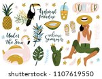 summer set  hand drawn elements ... | Shutterstock .eps vector #1107619550