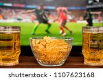 two glass of cold beer and...   Shutterstock . vector #1107623168