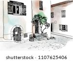 old town street in hand drawn... | Shutterstock .eps vector #1107625406