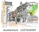 old city street in hand drawn... | Shutterstock .eps vector #1107626969