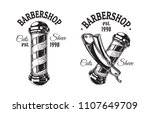 set of vintage barbershop... | Shutterstock .eps vector #1107649709