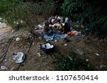 refugees and migrants in a... | Shutterstock . vector #1107650414