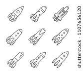 large linear set of rocket... | Shutterstock .eps vector #1107656120