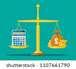 money balance concept. golden... | Shutterstock .eps vector #1107661790
