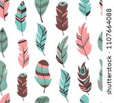 tribal feather seamless pattern ... | Shutterstock .eps vector #1107664088