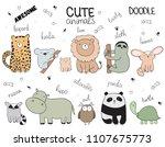 set of vector cartoon sketch... | Shutterstock .eps vector #1107675773