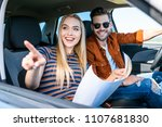 young woman with map in hand... | Shutterstock . vector #1107681830