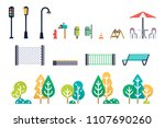 street furniture and trees set.  | Shutterstock . vector #1107690260