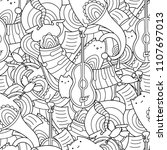 vector doodle seamless pattern... | Shutterstock .eps vector #1107697013