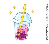 cartoon bubble milk tea with... | Shutterstock .eps vector #1107709469