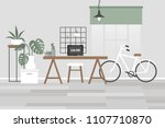 scandinavian office interior.... | Shutterstock .eps vector #1107710870