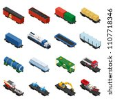 trains isometric set of freight ... | Shutterstock . vector #1107718346