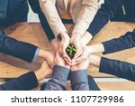 hands adult business team work... | Shutterstock . vector #1107729986