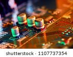 electronic circuit board close... | Shutterstock . vector #1107737354