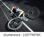 accident.  a girl fallen off a... | Shutterstock . vector #1107740783