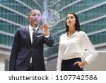 a business man and woman of... | Shutterstock . vector #1107742586