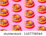 inflatable doughnut pool toy... | Shutterstock . vector #1107758564