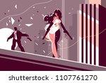 attractive girl spy with gun... | Shutterstock .eps vector #1107761270