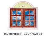 wooden window frame with... | Shutterstock . vector #1107762578