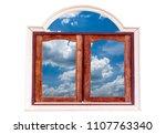 wooden window frame with... | Shutterstock . vector #1107763340