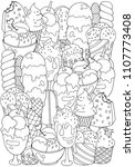 coloring book page. set of... | Shutterstock .eps vector #1107773408
