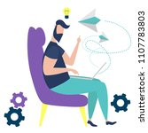 creative man sitting in chair... | Shutterstock .eps vector #1107783803