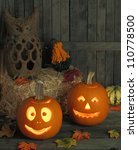 two smiling jack o lanterns on... | Shutterstock . vector #110778500