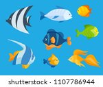 colorful flat icon set of a sea ... | Shutterstock .eps vector #1107786944