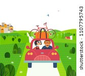 travelling by car concept.... | Shutterstock .eps vector #1107795743