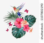 beautiful floral exotic vector... | Shutterstock .eps vector #1107802190