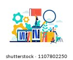 virtual book library... | Shutterstock .eps vector #1107802250