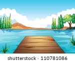 Illustration Of River And Benc...