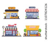 detailed storefront for grocery ... | Shutterstock .eps vector #1107824126