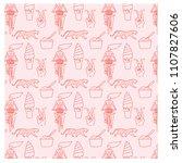 summer lifestyle pattern mono... | Shutterstock .eps vector #1107827606