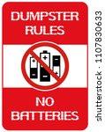dumpster rules.no batteries. ... | Shutterstock .eps vector #1107830633