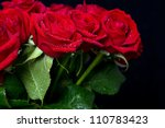 Bouquet Of Red Roses On Black...