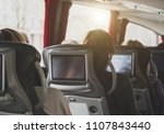 tourist bus with passengers and ... | Shutterstock . vector #1107843440