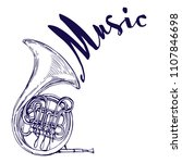 french horn music instrument... | Shutterstock .eps vector #1107846698