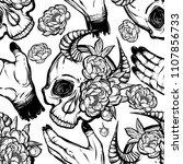 vector illustration. skull with ...   Shutterstock .eps vector #1107856733