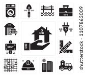 set of 13 simple editable icons ... | Shutterstock .eps vector #1107863009
