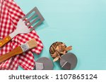 variety of grilling tools on... | Shutterstock . vector #1107865124
