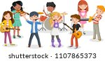 cartoon children playing on a... | Shutterstock .eps vector #1107865373