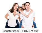 happy family with two kids on... | Shutterstock . vector #1107875459