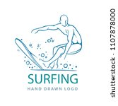 surfer. surfer hand drawn... | Shutterstock .eps vector #1107878000