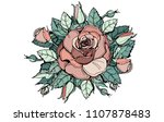 pink vector rose. flower with... | Shutterstock .eps vector #1107878483