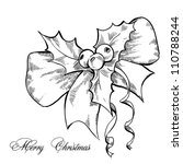 christmas sketch with bow | Shutterstock .eps vector #110788244