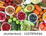 healthy super food concept with ... | Shutterstock . vector #1107896966